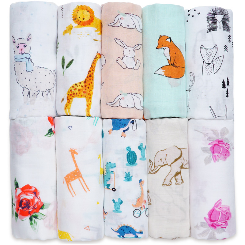 Cotton Bamboo Baby Blanket Soft Muslin Swaddle Wrap Bebe Multi-use Big Diaper Blanket Baby Bath Towel Stroller Kids Accessories