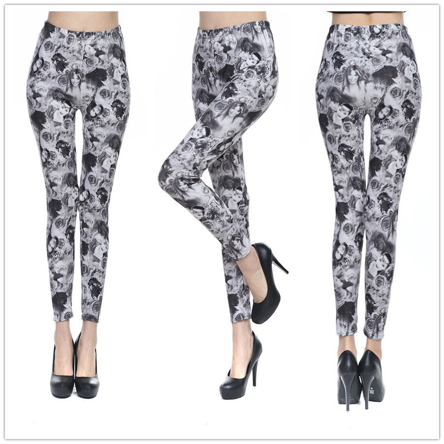 Printed Legging Jean Skull Skinny Slim Women Rose 8204 Leshp Brushed Detox Ren Tou MLH