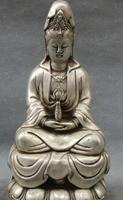 decoration Tibet copper silver 9 Chinese Silver Buddhism Tibet copper Goddess Joss Kwan yin Goddess Buddha Statue