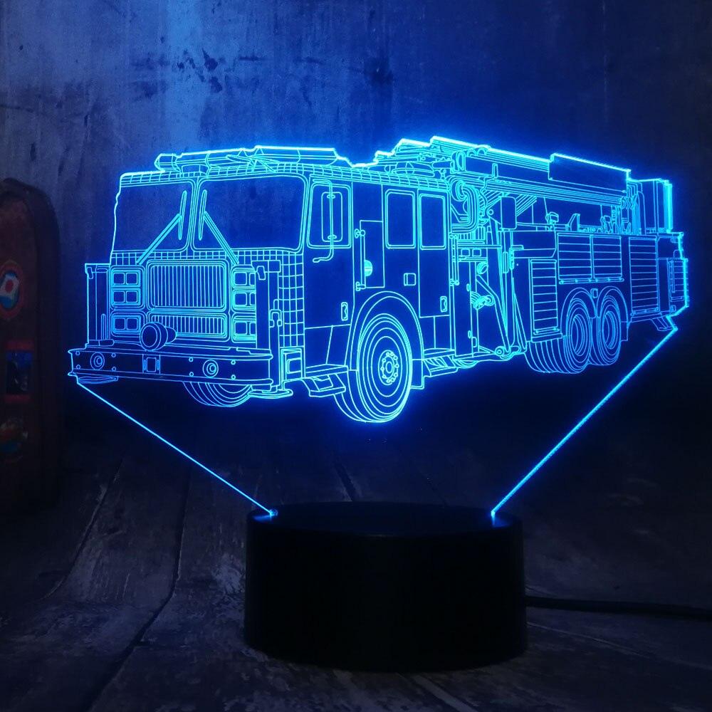 2019 Cool Fire Engine Car 3D LED 7 Color Flashlight Night
