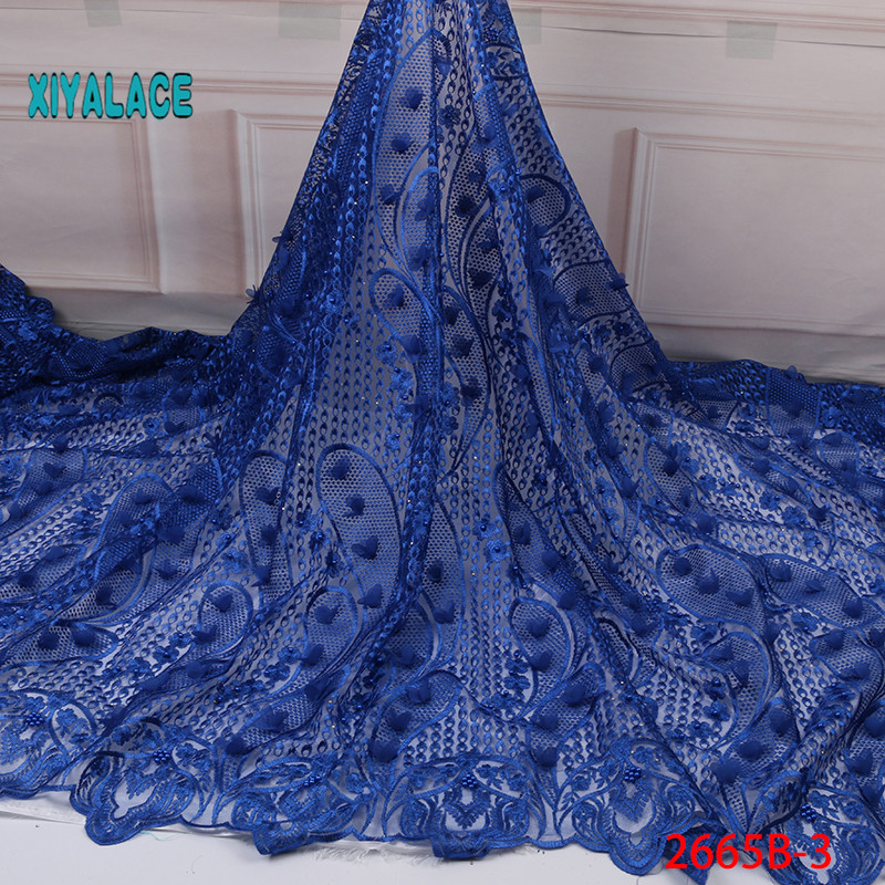 2019 New Style French Net Lace Fabric 3D Flower African Tulle Mesh Lace Fabric High Quality Lace Nigerian Lace Fabric YA2665B-3