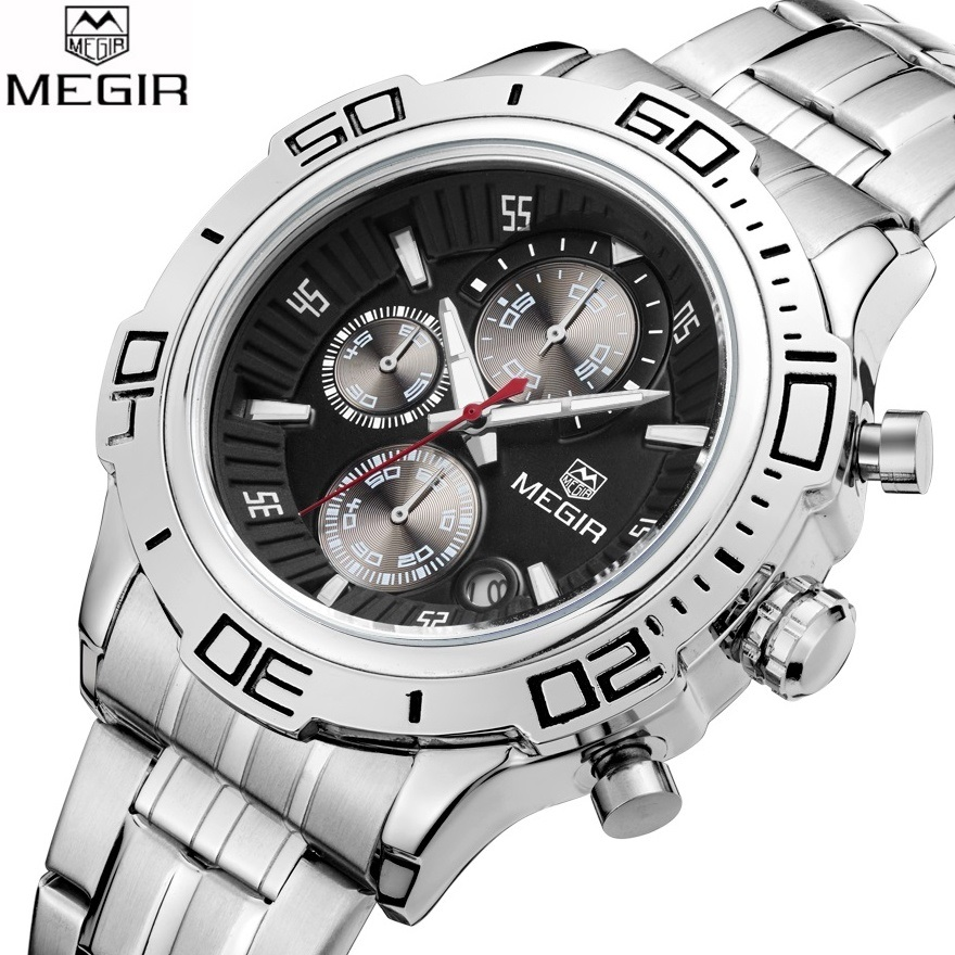 MEGIR Men's Chronograph Watch Top Brand Luxury Male Waterproof Sport Quartz Military Casual Wrist Watch Men Clock Montre Homme megir sport mens watches top brand luxury male leather waterproof chronograph quartz military wrist watch men clock saat 2017