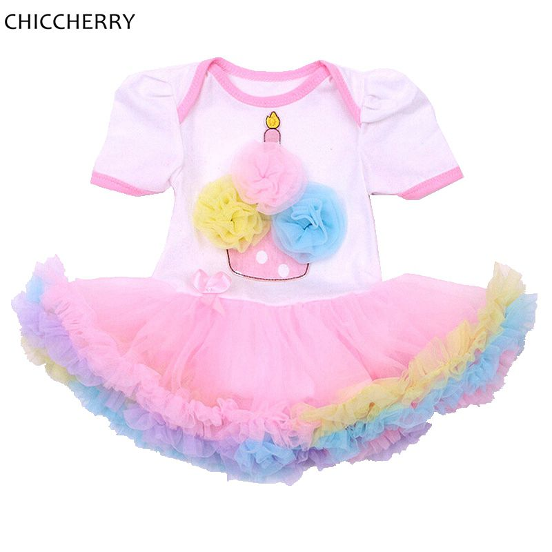 99864447ef Fantasia Cupcake Birthday Outfits Cotton Newborn Lace Romper Infant ...