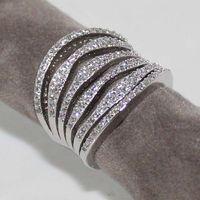 Ladies Luxury 925 Silver White Sapphire Simulated Diamond Platinum Plated White Gold GP Women Wedding Ring
