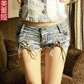 2016 mujeres del verano mujer denim hotpants mujer sexy jeans rasgados bottoms femme booty shorts señora caliente micro mini shorts