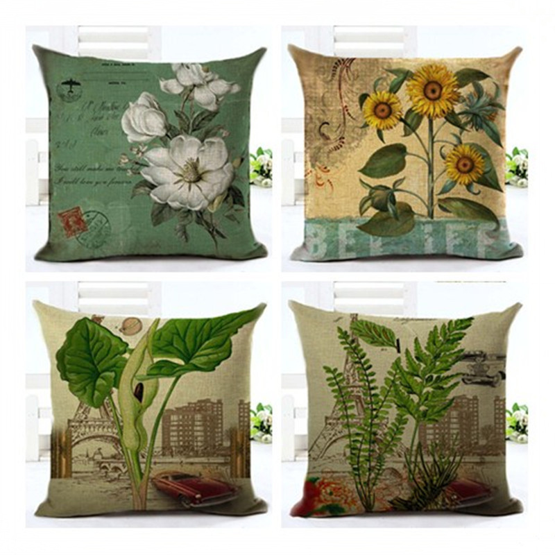European Style Plant Retro Pillowcase Cushion Cover Pillow Case For Office Sofa Home Decor F