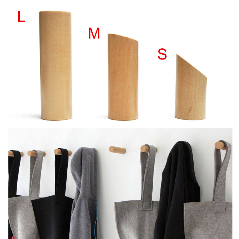Natural Wooden Coat Hook Study Wall Mounted Clothes Scarf Hat Bag Storage Hanger MYDING