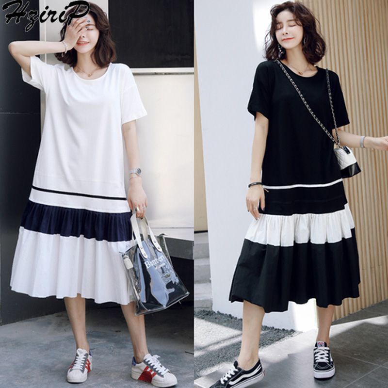 HziriP New Summer Maternity Pleated Dresses O-neck Fashion Loose Cotton Pregnant Women Dress Casual Pregnancy Elegant Clothes