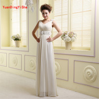 Real Picture Beaded Chiffon Long Evening Dress 2017 Sexy V-Neck A-Line Women Wedding Party Dresses Formal Evening Gown
