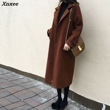 England Style Wool Coat Long Wool Blend Coat and Jacket Single Breasted Women Coats Autumn Winter Xnxee epaulet design single breasted wool blend jacket