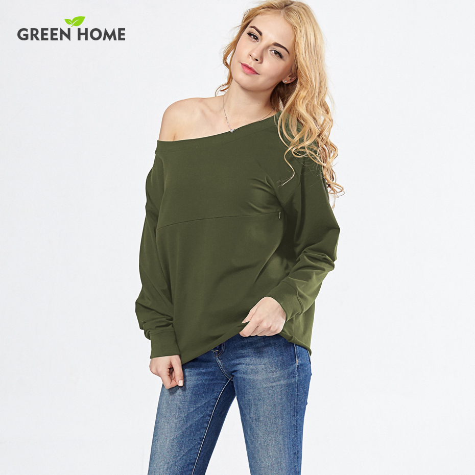 Green Home Sexy Off Shoulder Nursing Tops Maternity Clothes Breastfeeding Sweatershirt Tops Fashionable Nursing Tops