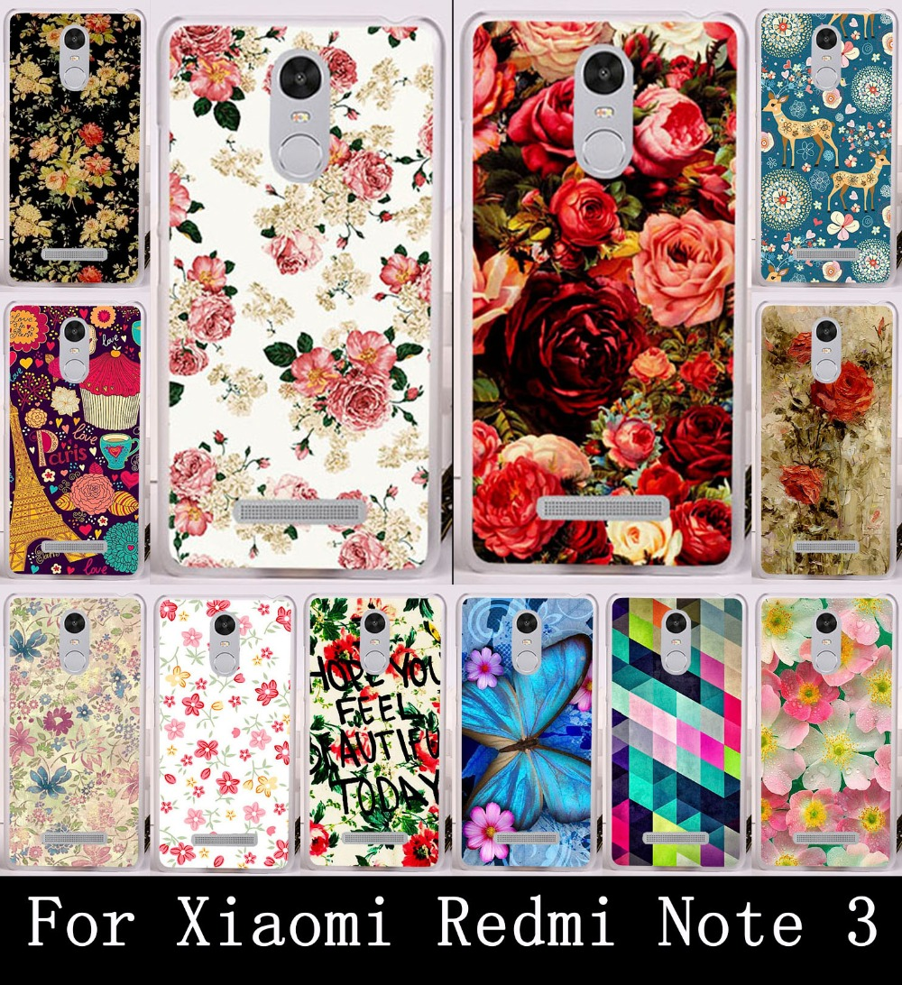 Soft TPU Hard PC Phone Cases For Xiaomi Redmi Note 3 Pro Redmi Note 3 Redmi Note 2 Pro Redmi Note3 Pro Rose Flower Shell Covers