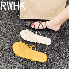 RWHK Beach leisure slippers female 2019 new Korean version of the wild network red lazy shoes summer flat set toe tide B193