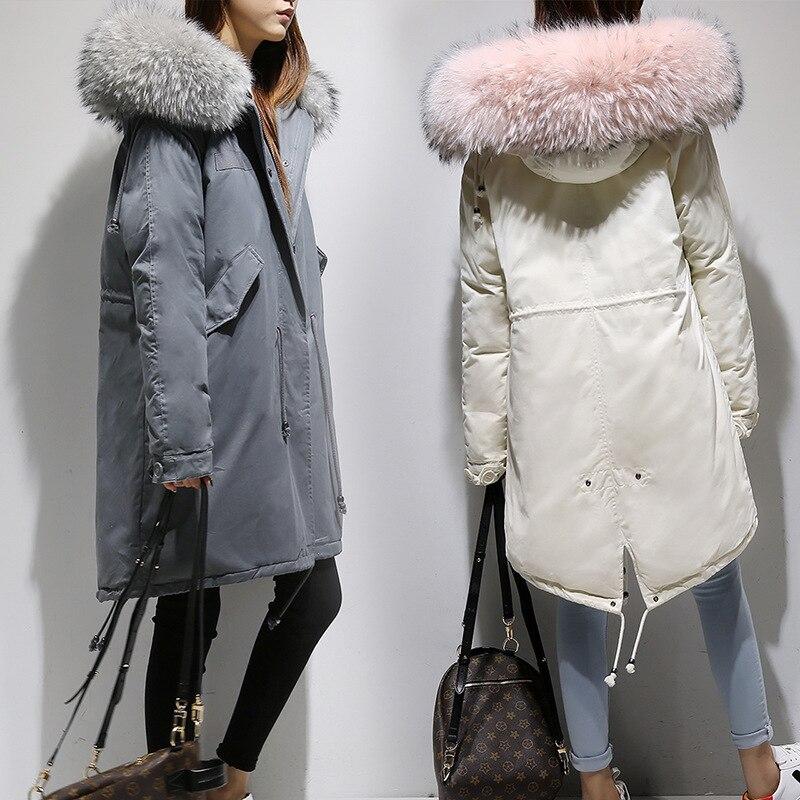 Утолщенное женское пуховое пальто женское пуховое зимнее пуховое пальто женское длинное женское теплое пальто с капюшоном с меховым ворот...