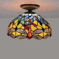 12 дюймов Европейский стиль цвет стекло Стрекоза потолочный светильник Ретро плафон светодиодный спальня лестница, коридор стекло светодио