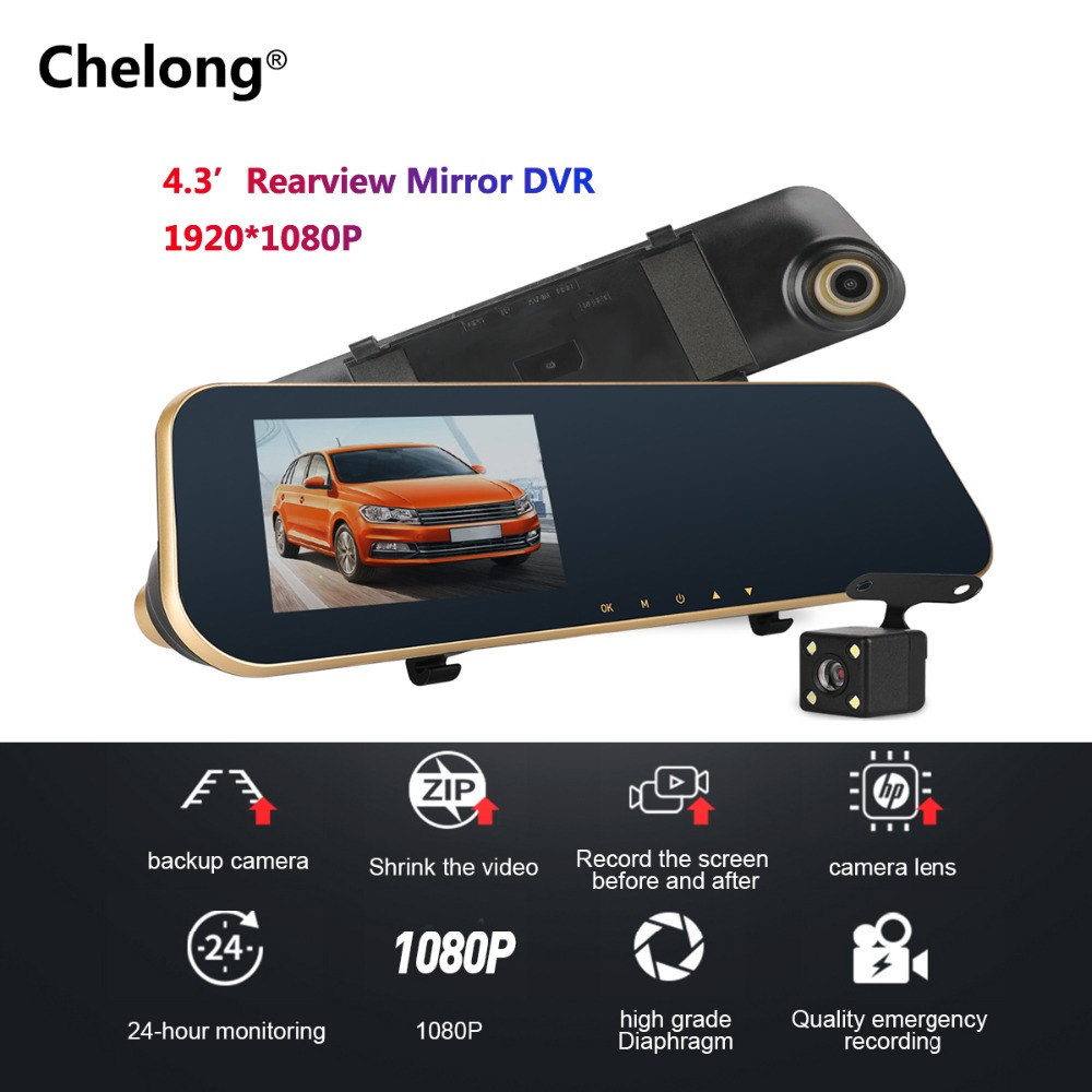 4.3 Inch 1080P Night Vision Car Camera Rearview Mirror DVR Dual Lens Dash Cam Recorder Video Registrator Camcorder DVR Auto Cam