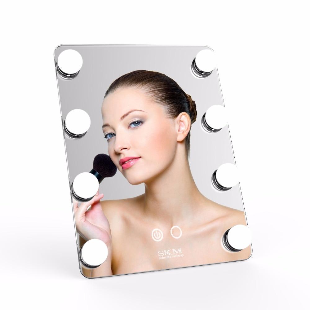 Professionnel Maquillage Miroir avec 8 Dimmable LED Ampoules USB Rechargeable Conception Tactile Écran Vanity Table Cosmétiques Miroir Vente
