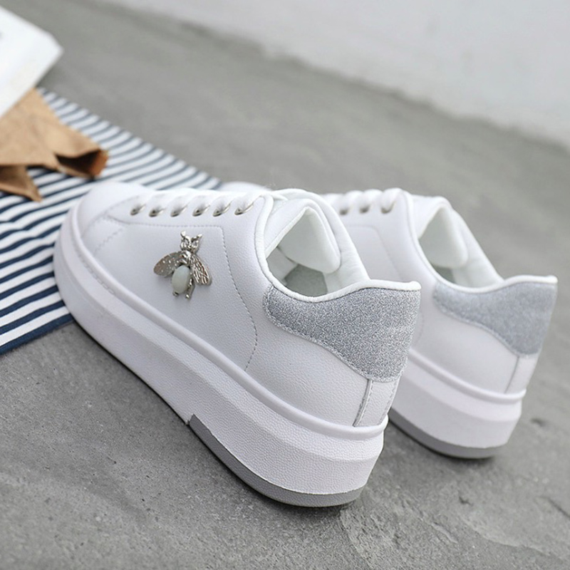 Women Casual Shoes 2019 Autumn Women Sneakers Fashion PU Leather Women Shoes Breathable Heigt Increating Platform Women Shoes