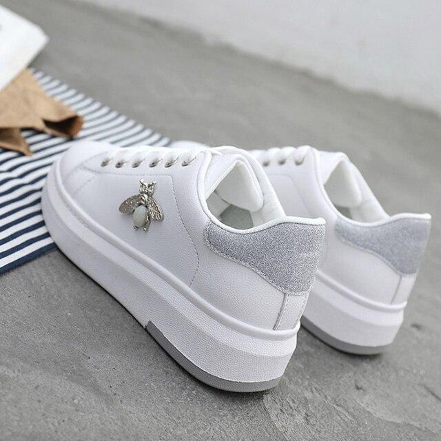 Vrouwen Casual Schoenen 2019 Herfst Vrouwen Sneakers Mode Pu Leer Vrouwen Schoenen Ademend Heigt Increating Platform Vrouwen SchoenenSneakers voor vrouwen