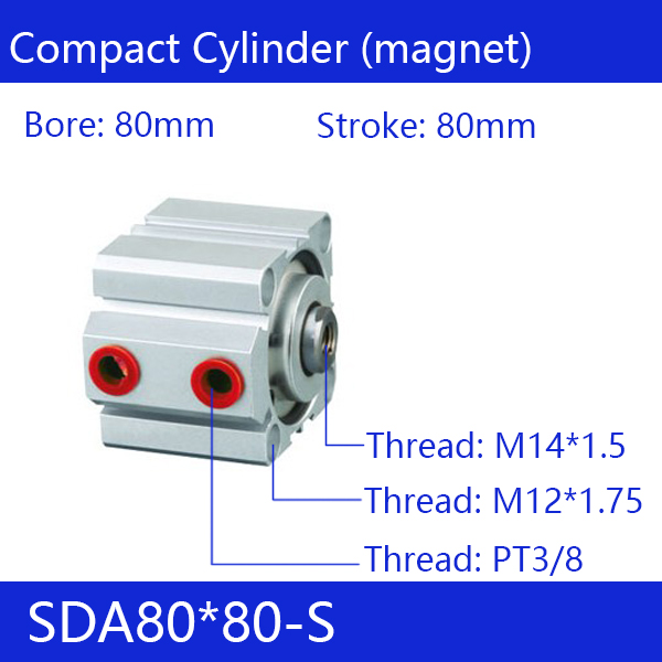 SDA80*80-S Free shipping 80mm Bore 80mm Stroke Compact Air Cylinders SDA80X80-S Dual Action Air Pneumatic Cylinder sda80 70 free shipping 80mm bore 70mm stroke compact air cylinders sda80x70 dual action air pneumatic cylinder