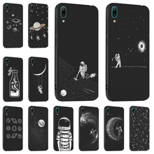 Ojeleye Fashion Black Silicon Case For Huawei Y6 2019 Anti-knock Cover Pro Honor Play 8A Covers