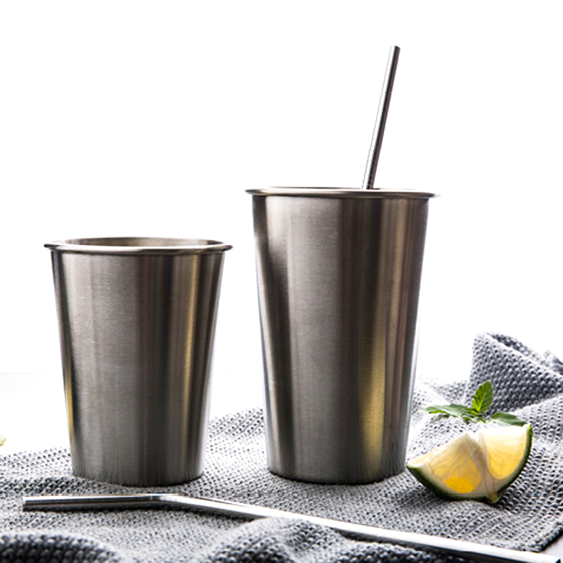 Stainless Steel Pint Cups LargeSmall Durable Kids Cup Metal Tumblers Juice Cocktail Iced Tea Cup Home Bar Camping Drinking Mugs (1)