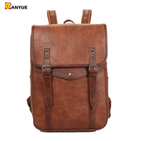 Large Waterproof Vintage Men Backpack Leather Backpack Men School Bags For Boys Teenagers Anti Theft Travel Laptop Backpack 15.6