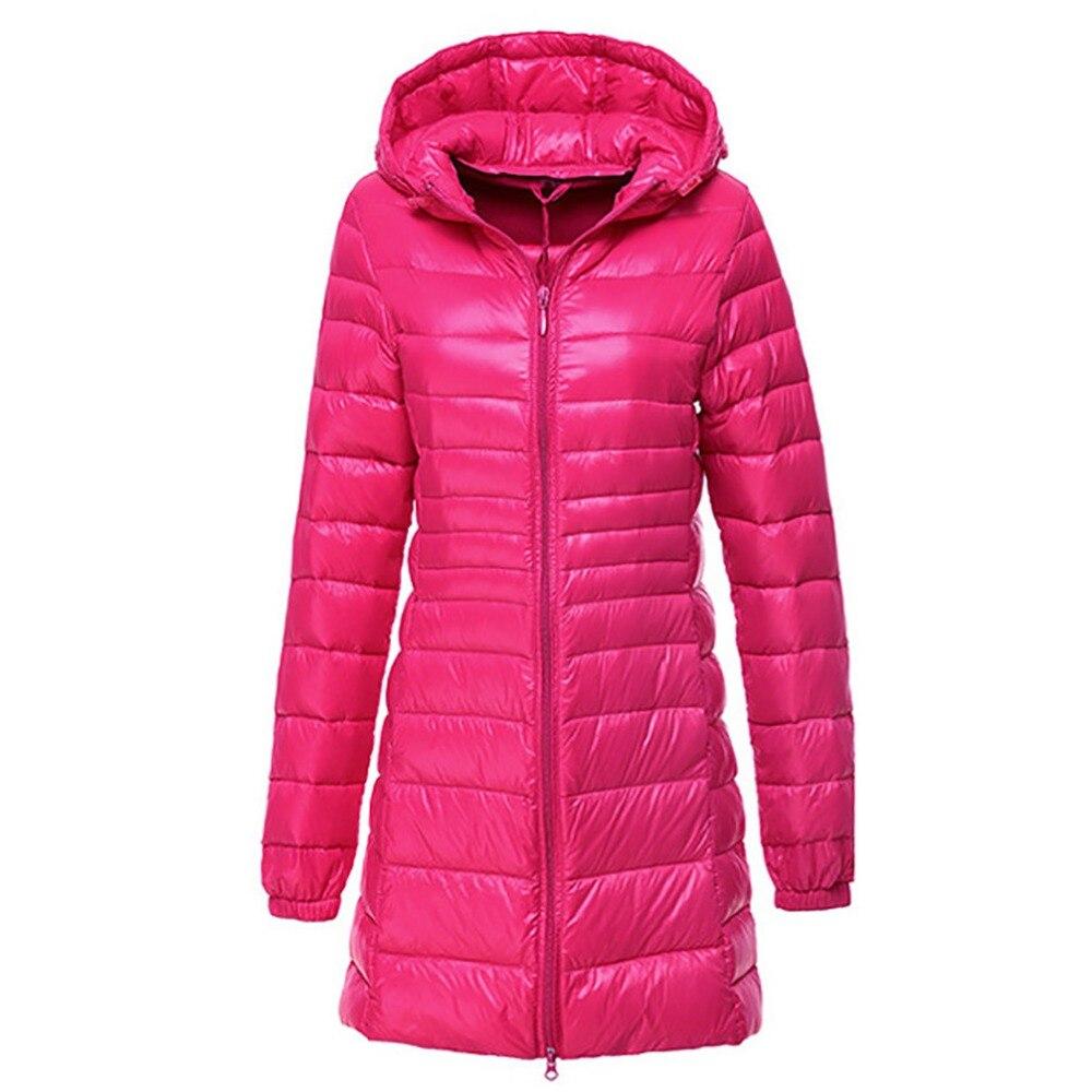 Осенне-зимнее пальто Для женщин классический 90% Duck Down Ultra Light Длинная Куртка Пальто Верхняя одежда пальто парка с капюшоном куртки женские