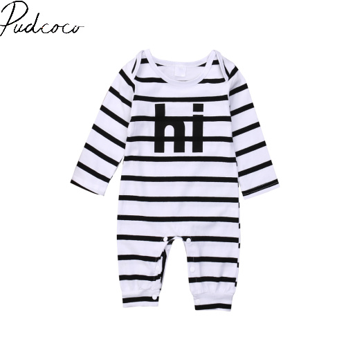 Pudcoco Long Sleeve Striped Hi Letter Pullover Hot Newborn Infant Baby Boy Girl Kids Cotton Romper Jumpsuit Clothes Outfit 6-24M newborn infant baby girl clothes strap lace floral romper jumpsuit outfit summer cotton backless one pieces outfit baby onesie