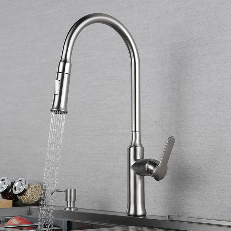 Brushed Solid Brass kitchen faucet exquisite Pull down cold and hot faucet Double mode sprayer High quality material series