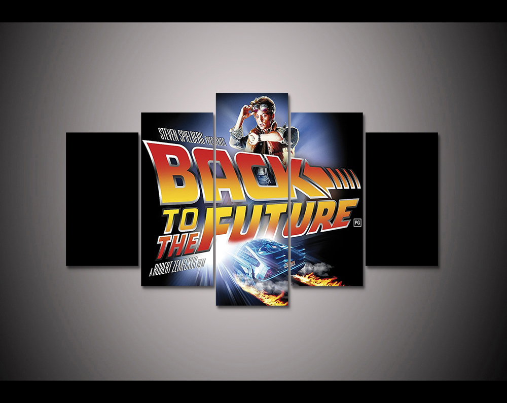 5 panel HD printed canvas print painting back to the future canvas poster Home Decor Wall art Pictures For Living Room F1901