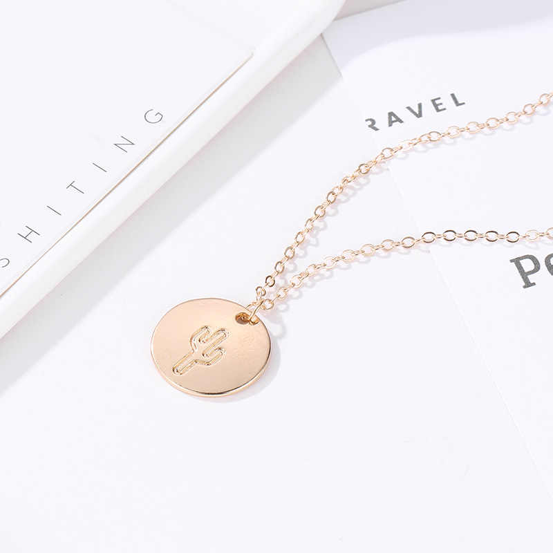 13e94e389dbe0 Pineapple Cactus Choker Necklace For Women Gold Color Wave Moon Arrow Peace  Round Sequins Charm Pendant Clavicle Chain Jewelry