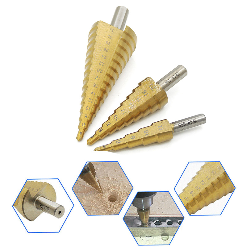 HSS Titanium Coated Stepped Drill Bit Set For Metal High Speed Steel Drilling 4-12/20/32mm Power Tools Metal Conical Drill Bit