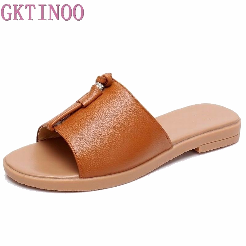 GKTINOO 2018 New Summer Beach Slipper Flip Flops Shoes Women Genuine Leather Casual Slides Shoes Flat with Plus Size 35-43 2018 new summer style beach cork slipper flip flops sandals women mixed color casual slides shoes flat with plus size 35 45