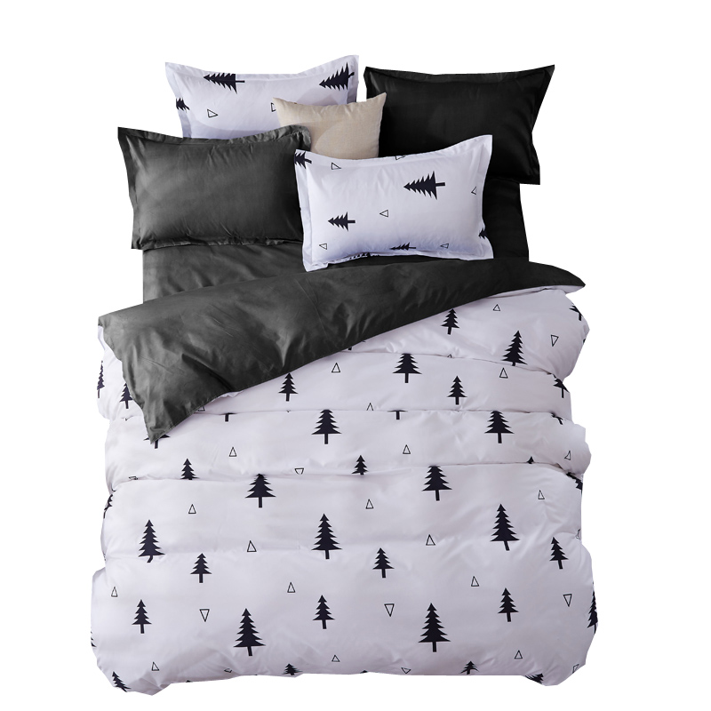 Bedding Sets Fashion Duvet Cover Set With <font><b>Bed</b></font> Sheet RU Family Size For Russia,Queen King For USA Bedclothes Gray Christmas tree