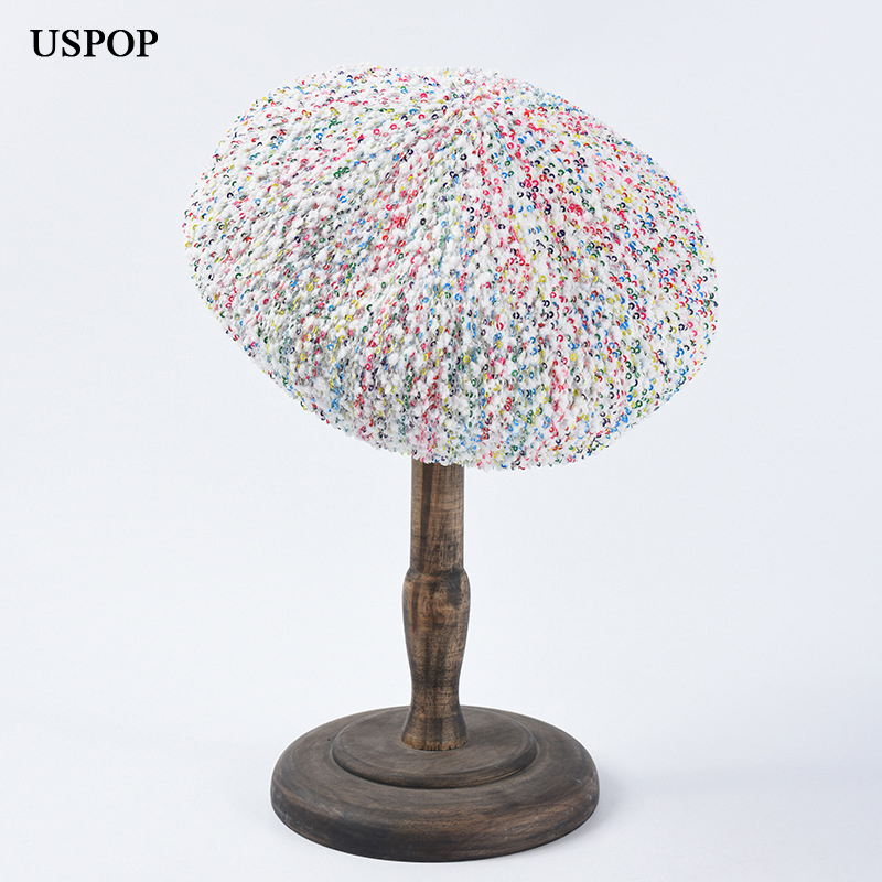 USPOP 2019 New Spring Autumn hats fashion berets for women adjustable mixed color sequins hat