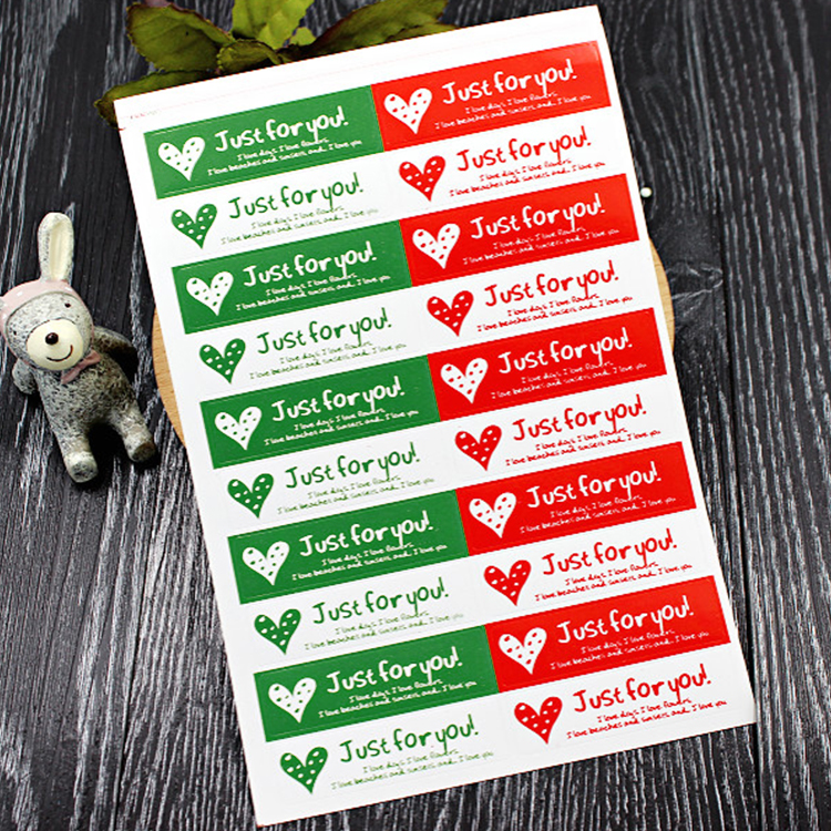 200Pcs/Lot New Just For You Heart Hand Made Cake Sealing Label Kraft Sticker Baking DIY Work Rectangle Gift Stickers