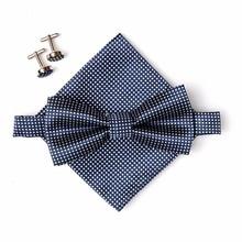 Wedding Party Prom Fancy Plain Necktie Tie Satin Bow Ties+ Cufflinks + Hanky Silk Tie Set for Men Plaid Necktie Sets WB520 P45