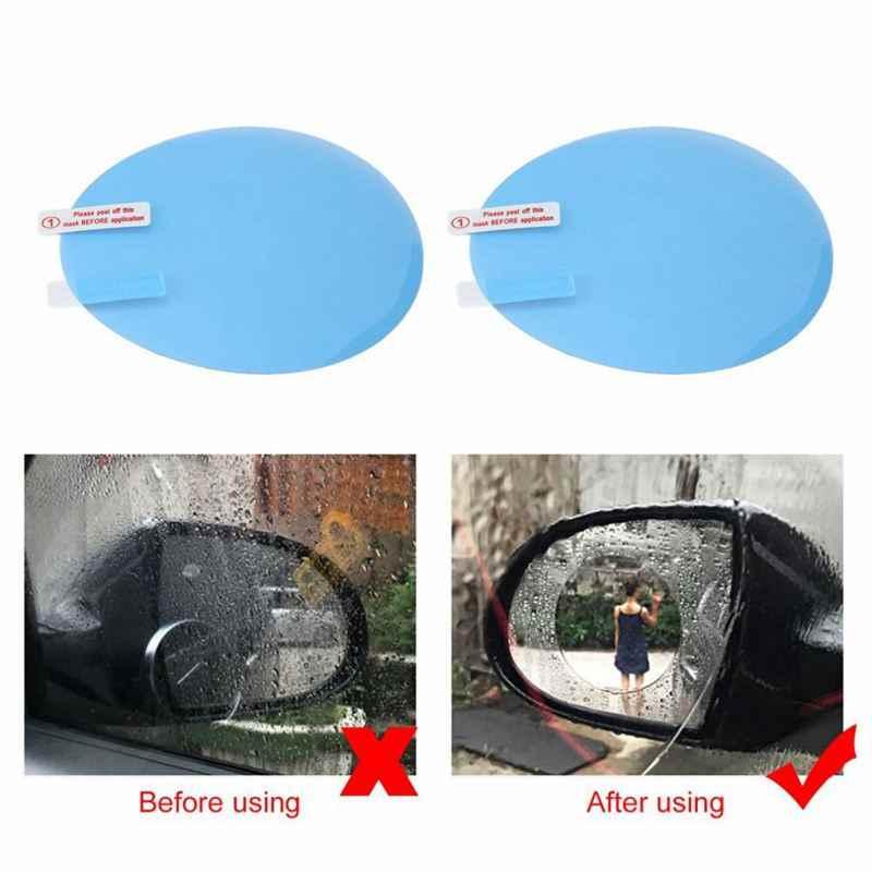 2Pcsรถจักรยานยนต์รถด้านหลังดูกระจกฟิล์มAntiหมอกกันฝนด้านหลังดูกระจกหน้าต่างClearเมมเบรนกันน้ำ
