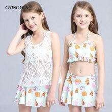 Summer children for girls swimwear split Bikini lace 3pcs kids bikini tops skirts pattern Princess dress beachwe