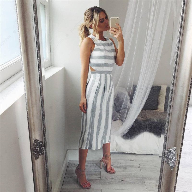 BKLD Striped Sleeveless Backless Womens Summer Spring Cotton Playsuits Jumpsuits Office Rompers 2018 New Lady Elegant Uniform