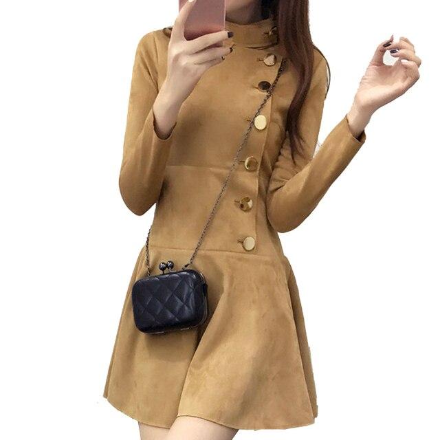 Fashion New Autumn Winter Women Suede Dress Long Sleeve Slim A-Line Dress Khaki and Black Color Plus Size Robe Femme YC603