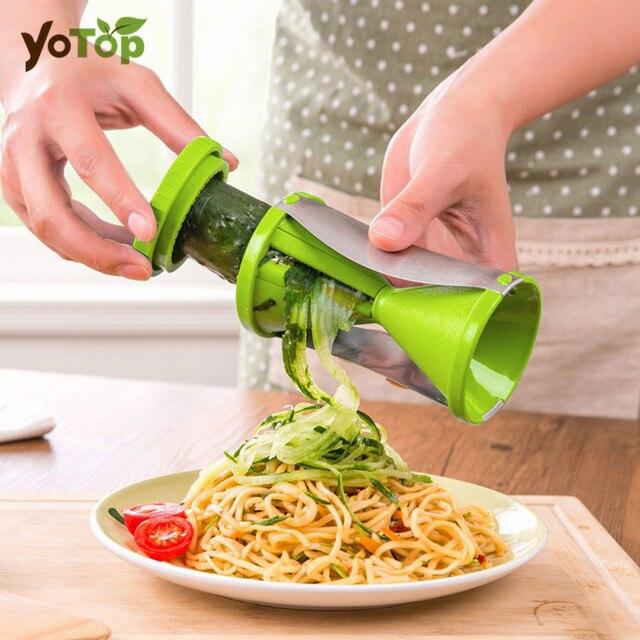 yotop vegetable fruit spiral slicer spirelli graters carrots spiralizer julienne cutter peeler. Black Bedroom Furniture Sets. Home Design Ideas