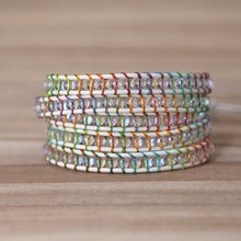2019 colorful rope crystal beads Charm 5 Strands Wrap Bracelets Handmade Boho Bracelet Women&men Leather Bracelet(China)