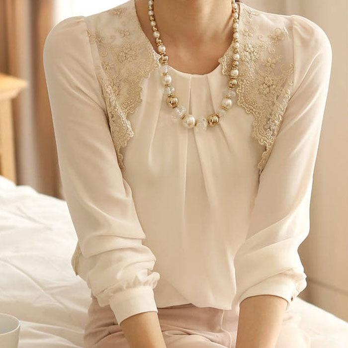 Women Lady Vintage Long Sleeve Sheer Tops Lace Shirt Chiffon Blouse