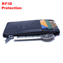 Super Thin Slim Card Holder Men RFID Blocking Genuine Leather Coin Purse Men Travel Business ID Credit Card Holder Wallet R13(China)