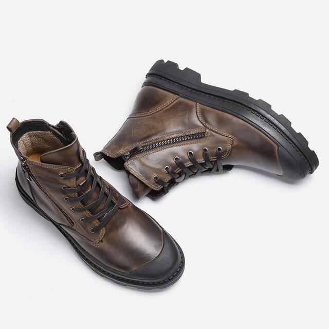 Natural Cow Leather Shoes Men snow Boots 2018 Handmade Retro Men warm boots #CX9550JM