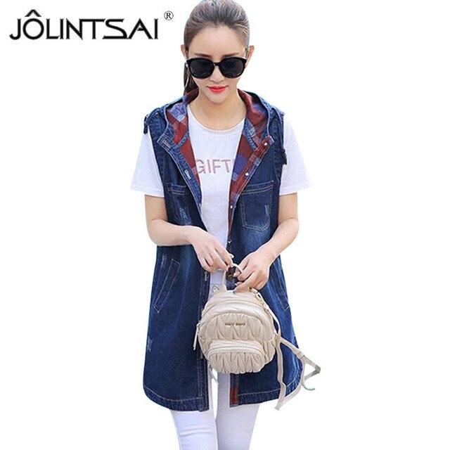 344b71088f9 Plus Size Denim Vests 2017 Women Ripped Medium-Long Hooded Jacket Summer  Waistcoat Fashion Sleeveless Coat Pockets Denim Jacket