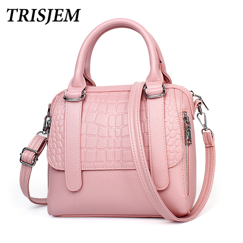 women leather handbags bag women crocodile tote female crossbody shoulder bags brand women's Top-Handle Bags sac a main pink 2017 famous brand large soft leather bag women handbags ladies crossbody bags female big tote green top handle bags sac a main