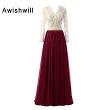 V-neck Pearls Lace Chiffon Floor Length Elegant Evening Dresses Long Sleeve Women Formal Dress Sexy Sheer Back Robe de Soiree